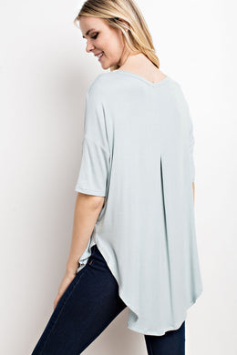 Pleated-back Hi/Lo Knit Top - Dusty Blue