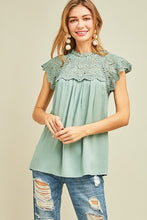 Lace Babydoll Top in Sage