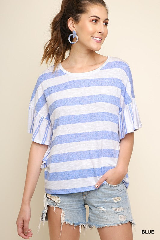 Light Blue Striped Top