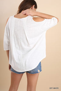 Off White Basic Knit Open Shoulder Top