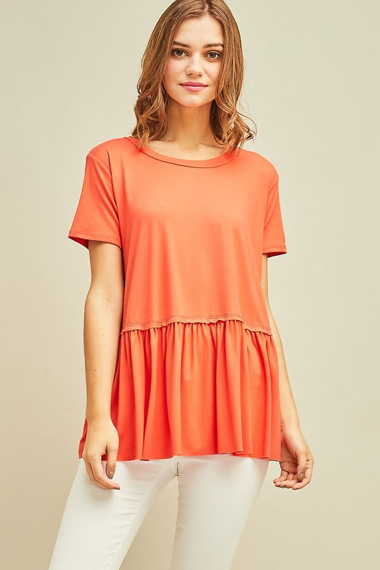 Coral Ruffle Bottom Top