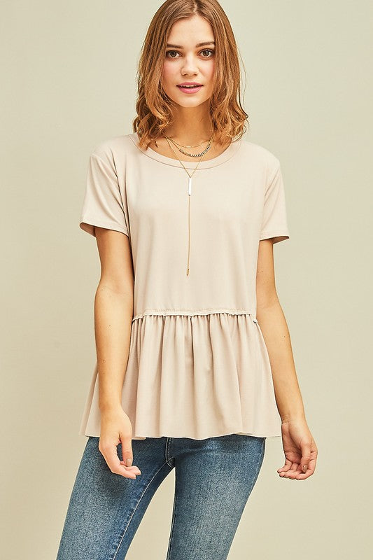 Sand Ruffle Bottom Top