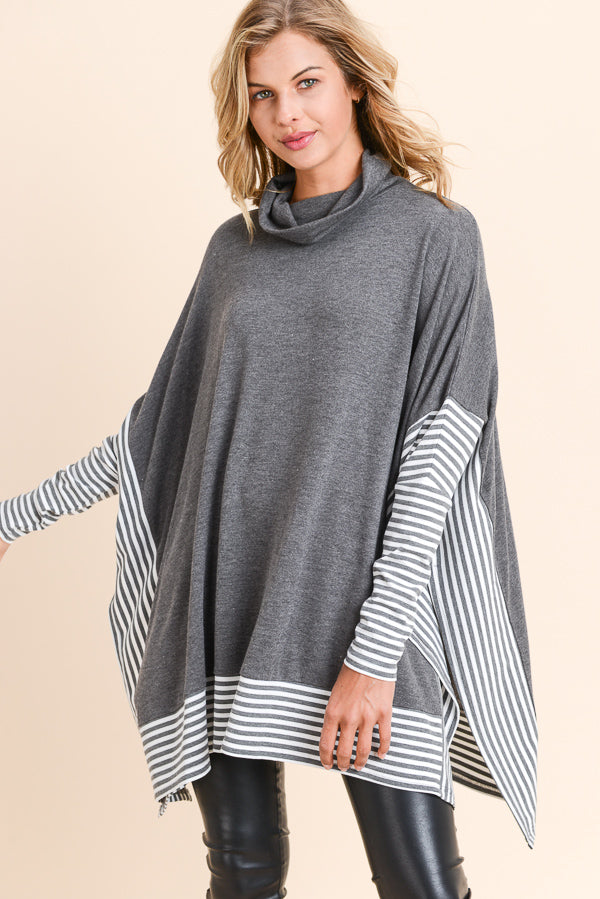 Over Sized Cape Sweater Top in Charcoal