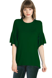 Ruffle Sleeve Tunic - Hunter Green