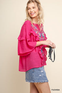 Fuchsia Floral Embroidered Ruffled Top