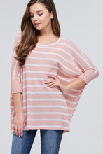 Mauve/White Striped 3/4 Sleeve Top