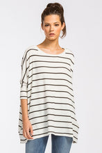 White/Black Striped 3/4 Sleeve Top