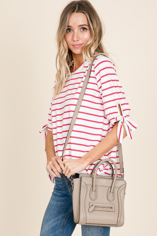 White/Navy Striped Top (Shown in Coral)