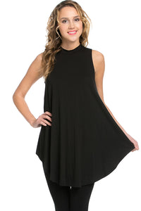 Hi Neck Sleeveless Top - Black