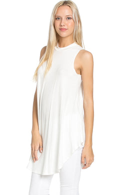Hi-neck Sleeveless Top - Off White