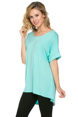 Pleated-back Hi/Lo Top - Mint