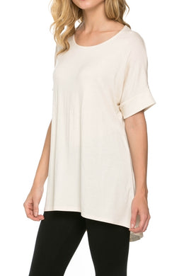 Pleated-back Hi-Lo Top - Ivory