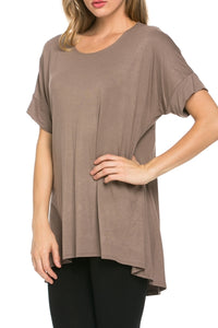 Pleated-back Hi/Lo Top - Mocha