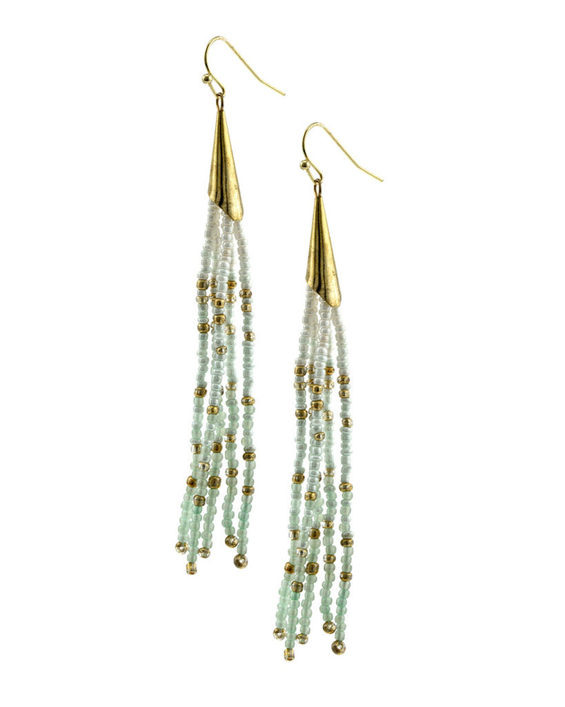 Long Seed Bead Tassels - Mint