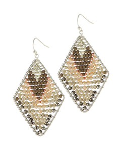 Silver Plated & Natural Crystal Beaded Earrings