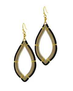 Gold Metal Teardrop and Leather Earrings