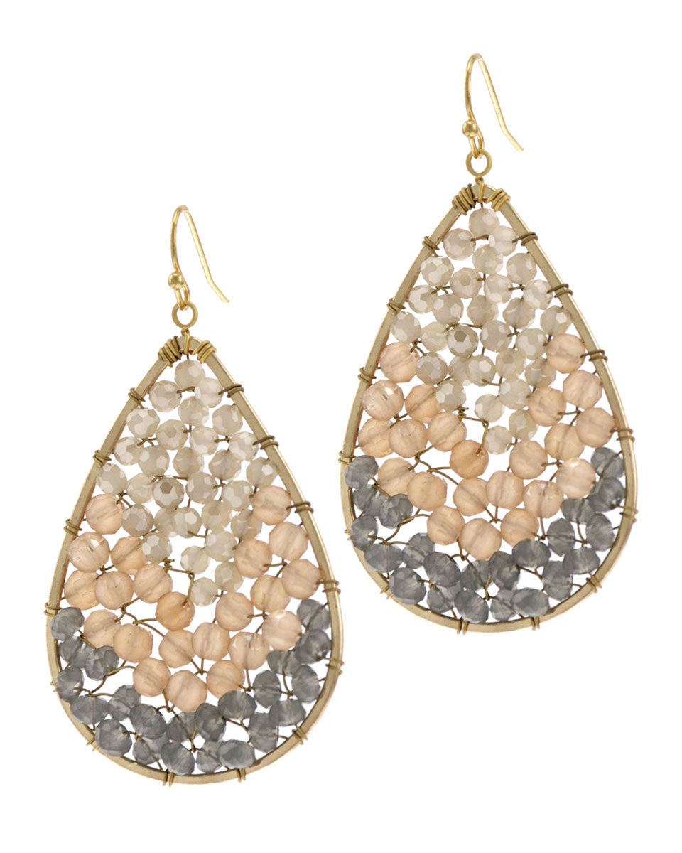 Cream & Grey Crystal Teardrop Earrings