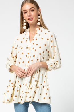 Gold Polka Dot Tiered Top