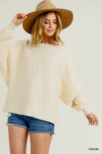 Ribbed Dolman Pullover Sweater
