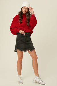 Red Ribbed Dolman Sleeve Sweater