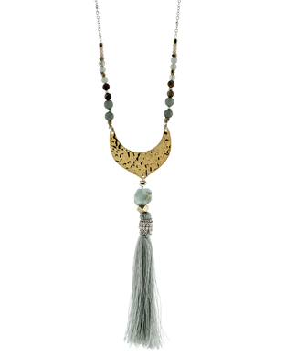 Nakamol Amazonite and Fabric Tassel Hammered Metal Necklace