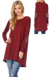 Tunic with Leopard Print Elbow Patches in Wine