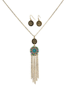 Vintage Enamel Flower with Chain Tassel Set