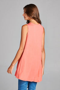 Coral High/ Low Ruffle Tunic