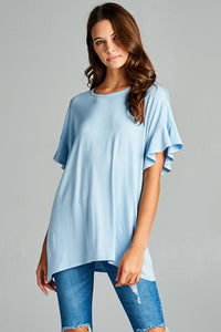 Ruffle Sleeve Dusty Blue Top