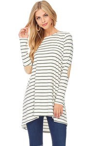 Hi/Lo Striped Tunic with Elbow Patches - Cream and Olive