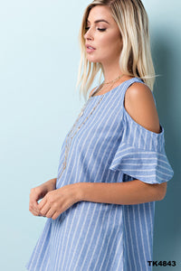 Striped Woven Cold-Shoulder Top