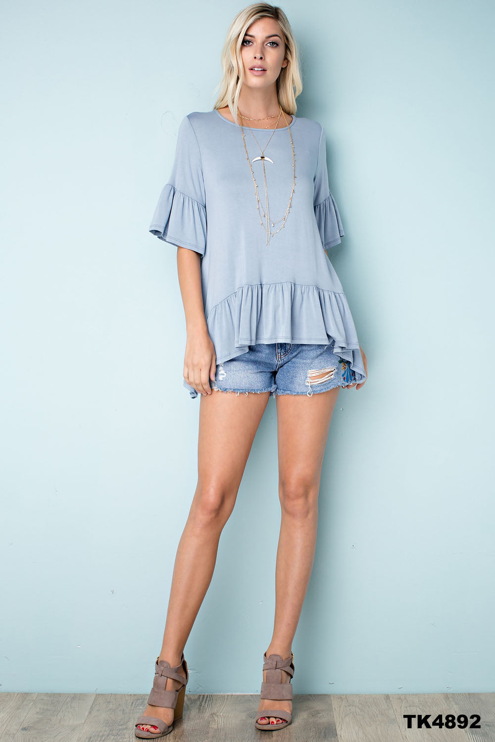 Jersey Knit Ruffle Hem Top - Dusty Blue
