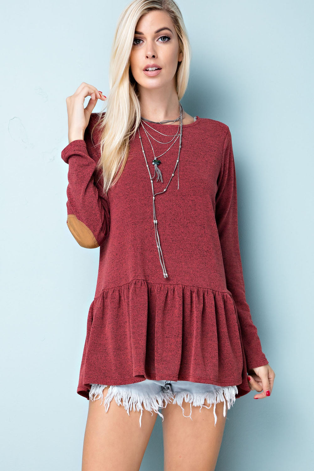 Two-Tone, Raw Edge Knit Top - Brick