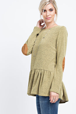 TWO-TONE, RAW EDGE KNIT TOP STYLE NO - Mustard