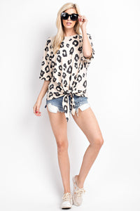 Tie-Waist Animal Print Raglan Top