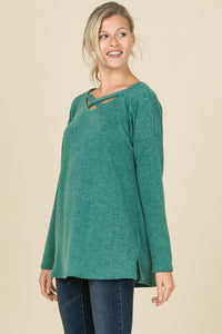 Green Washed Criss Cross Top