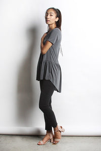 Ruffle Bottom Top - Dusty Grey (Top is a lighter Grey than Shown)