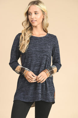 Long Sleeve Plaid Back Tunic Top - Blue