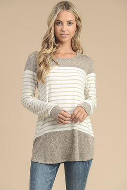 Long sleeve stripe and solid color block sweater tunic