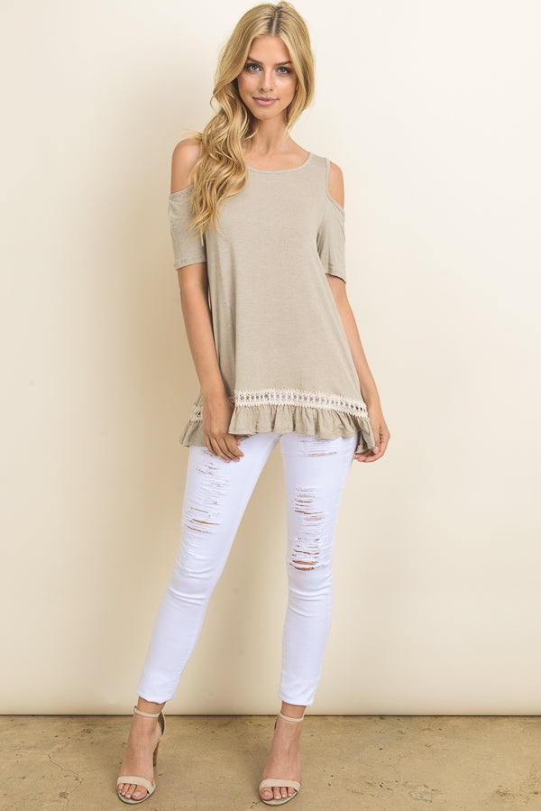 Solid Linen Cold Shoulder Top