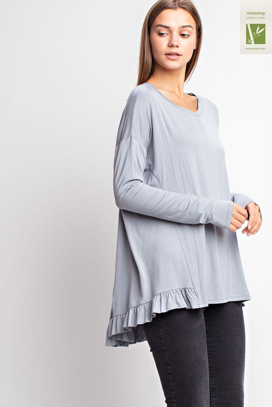 Blue Grass Bamboo Ruffled Hem Top