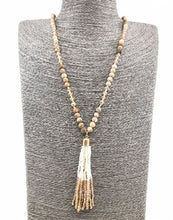 Natural stone and glass bead beaded necklace with a seed bead tassel - White