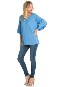 Ruffle Sleeve Tunic - Blue