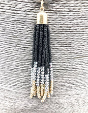 Natural stone and glass bead beaded necklace with a seed bead tassel - Black