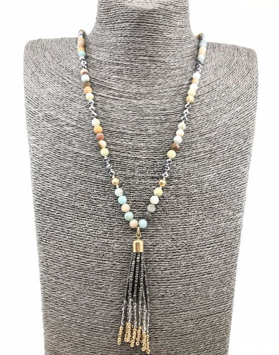 Natural stone and glass bead beaded necklace with a seed bead tassel - Mint