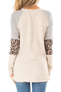 Striped Leopard Knit Top (Available in X-Large)