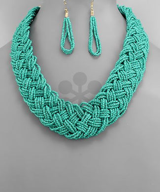 Seed Bead Braided Necklace Set