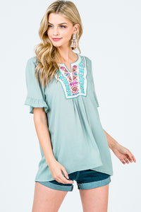 Front Embroidery Patch Rayon Top