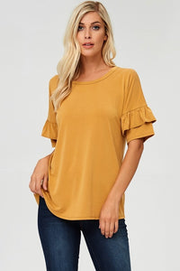 Ruffle Sleeve Top in Mustard