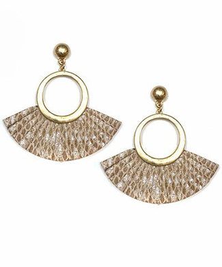 Snake Print Fanned Leather Trim Circle Earrings